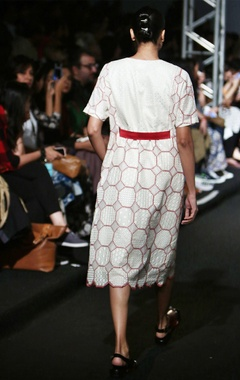 Red & white octagonal embroidered midi
