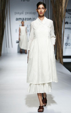 Ivory embroidered wrap dress