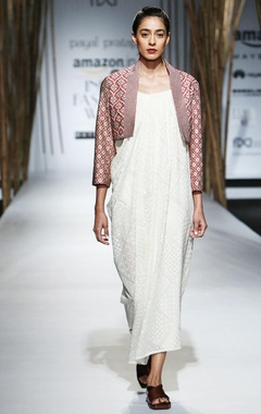 Ivory dress with tonal embroidery