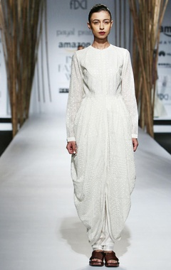 Ivory draped dress with embroidery