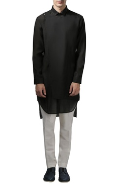 Rohit Gandhi + Rahul Khanna - Men Black long wrap shirt