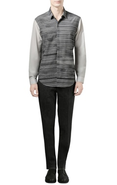 Rohit Gandhi + Rahul Khanna - Men Charcoal grey shirt with digital print
