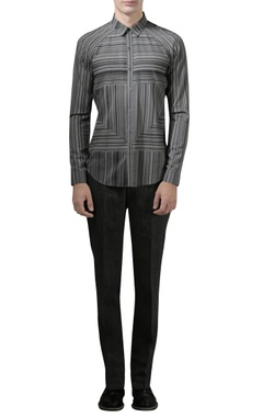 Rohit Gandhi + Rahul Khanna - Men Grey digital printed shirt