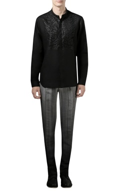 Rohit Gandhi + Rahul Khanna - Men Black shirt with applique