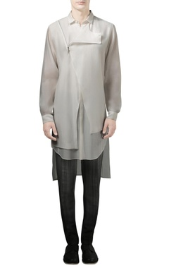 Rohit Gandhi + Rahul Khanna - Men Off white long shirt with wrap effect