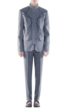 Rohit Gandhi + Rahul Khanna - Men Light grey studded jacket