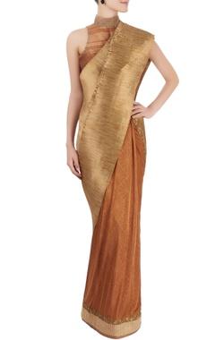 Gold pleated sari