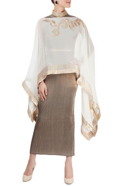 silver pleated dress with poncho