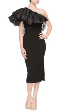 Black one-shoulder dress with ruffled neckline