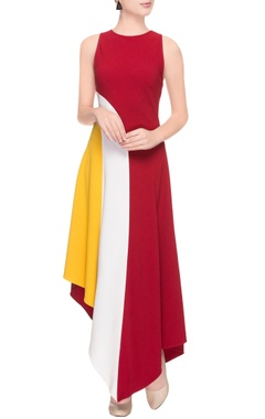 red, white & yellow color blocked dress