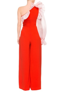 Orange one shoulder jumpsuit