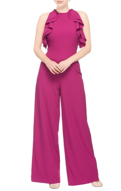 Purple jumpsuit with ruffles