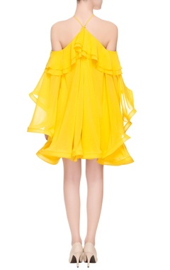 yellow flared dress with halter neck