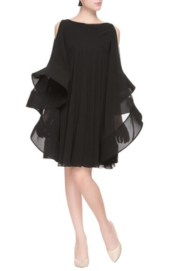 black flared dress with cold-shoulder sleeves