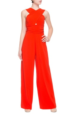 bright orange jumpsuit with cross over pattern