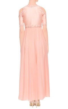 Peach embroidered maxi dress