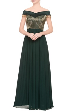 Emerald green embellished gown