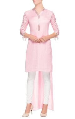 Pastel pink high low kurta