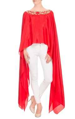Kresha Lulla red high low cape top