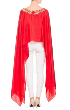 red high low cape top