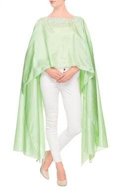 Pista green asymmetric cape top