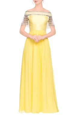 Lemon yellow tasseled maxi dress