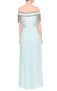 Pastel blue tasseled maxi dress