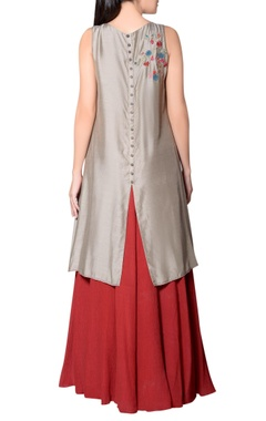 Grey asymmetric tunic with embroidery