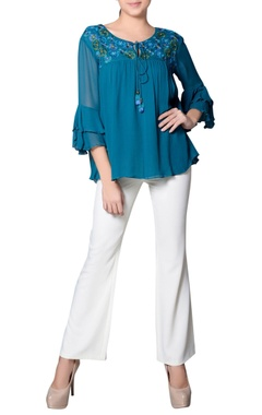 Teal blue top with embroidered yoke
