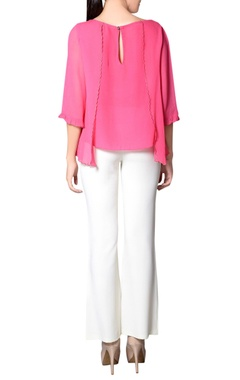 Pink embroidered flap top