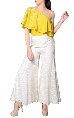 Yellow one-shoulder frill top
