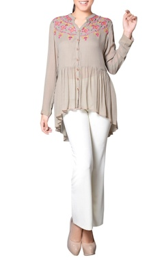 Grey embroidered & gathered tunic