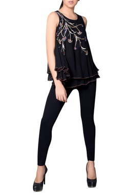 Black layered top with embroidery