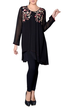 Black flap tunic with floral embroidery