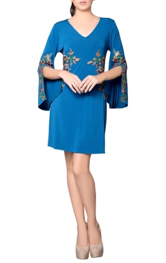 Teal blue embroidered dress