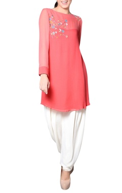 Coral pink tunic with embroidery