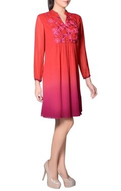 Red & purple embroidered tunic