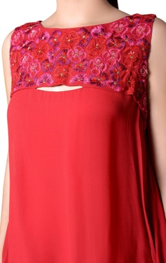 Ruby red gown with embroidery