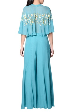 Blue embroidered palazzo set
