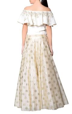 Ivory & gold embroidered skirt set