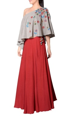 Grey & red embroidered skirt set