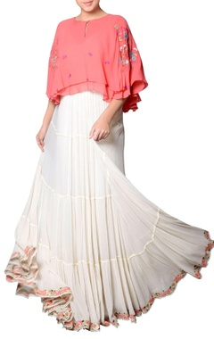 Coral pink top with embroidery
