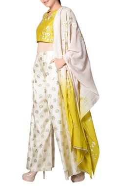 Yellow embroidered pant set
