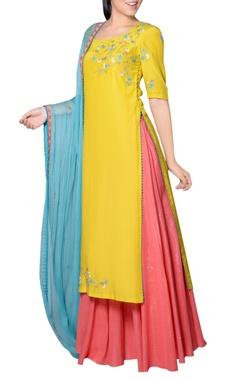 yellow, pink & blue kurta set
