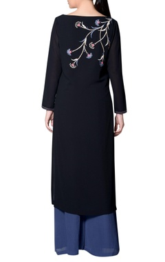 black embroidered kurta with ombre palazzos