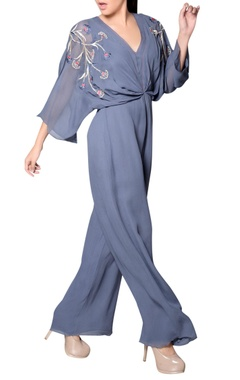 Grey jumpsuit with embroidery