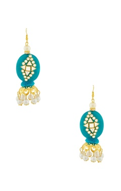Blue earrings with kundan work