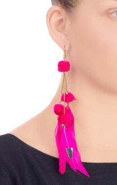 pink earrings with feathers