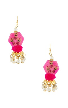 Pink hand-painted earrings