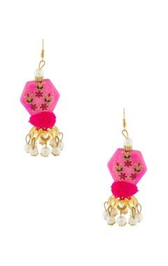 Pink hand-painted earrings